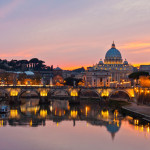 Saint Peter Basilica at sunset