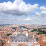 Famous Saint Peter's Square in Vatican and aerial view of Rome