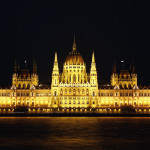 Hungarian National Parliament Building at night, Budapest, Hungary