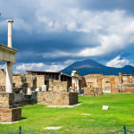 Roman ruins of Pompeii after the eruption of Vesuvius, Italy