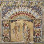 Multi-colored wall mosaics of Venus and Neptune at the ancient Roman city of Herculaneum