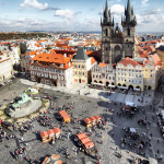 Old town square and Church of Virgin Maria Before Tyn, Prague, Czech Republic